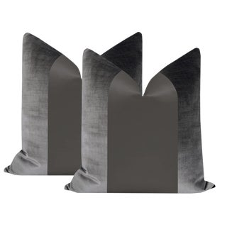 "22"" Graphite Velvet & Silk Panel Pillows - a Pair For Sale"
