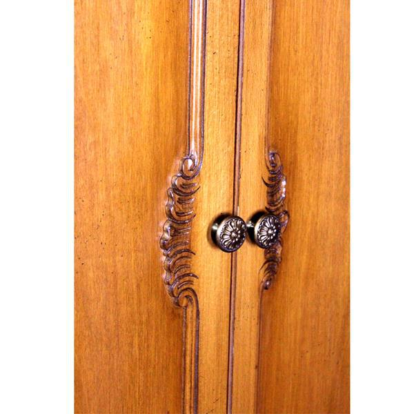 Brown French Provincial Country Walnut Armoire For Sale - Image 8 of 8
