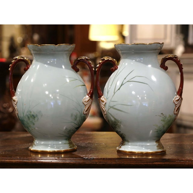 Pair of 19th Century French Painted and Gilt Porcelain Vases With Bird Decor For Sale - Image 10 of 12
