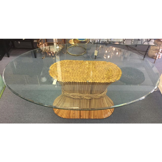 McGuire Vintage McGuire Bamboo Base Glass Top Table For Sale - Image 4 of 7