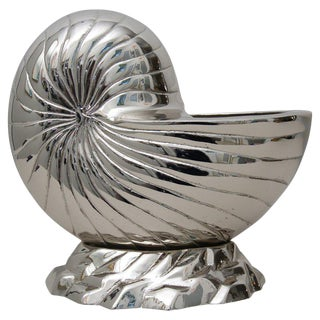 Nickel-Plated Nautilus Shell Cachepot For Sale