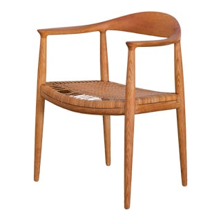 Hans Wegner Cane Oak Dining Chair For Sale