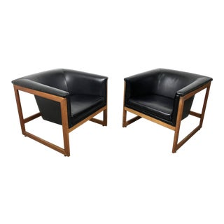 Pair Milo Baughman Style Cube Lounge Chairs, 1960's