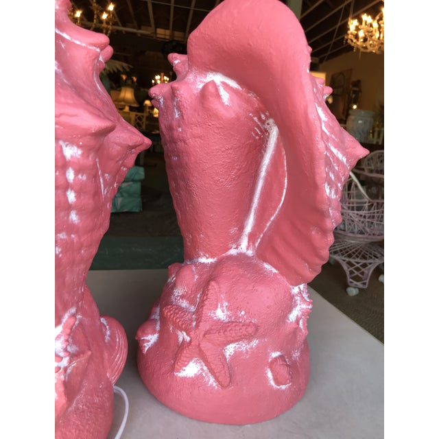 Pink Coastal Regency Large Coral Conch Shell Lamps-A Pair For Sale - Image 8 of 12