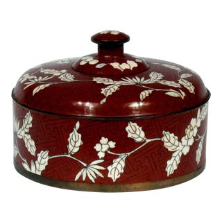 Chinese Burgundy & White Cloisonne' Lidded Box