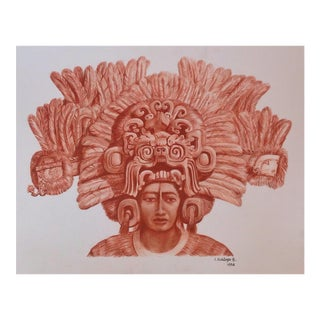 "Illustration of Mayan Headdress, ""Penacho Ceremonial De Sacerdote Maya"" For Sale"