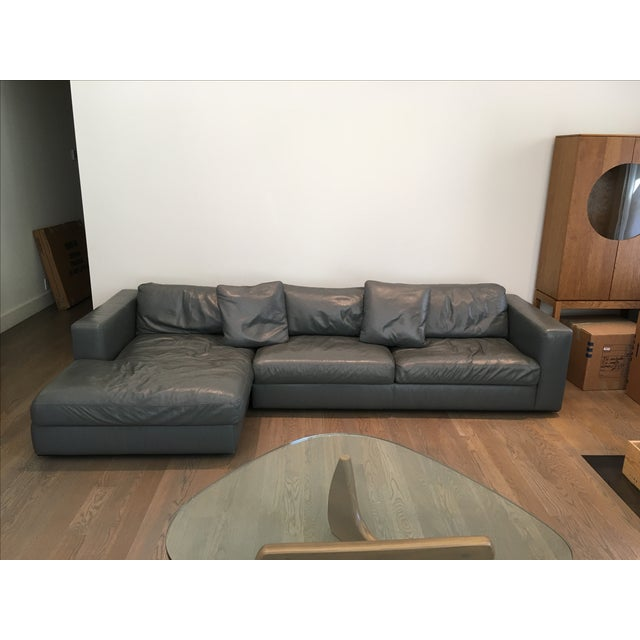 Reid Sectional Chaise in Slate Leather - Image 3 of 7