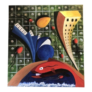 Vintage Original Abstract Painting Fish For Sale
