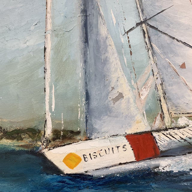 Paint Antique Sailboat Painting Framed For Sale - Image 7 of 13