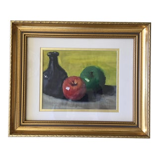 Still Life Watercolor Painting in Gilt Frame For Sale