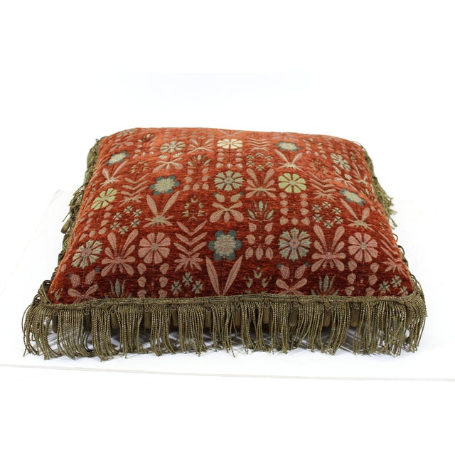 Pair of tapestry drawing room pillows with ornate fringes and tassels. Some missing tassels.