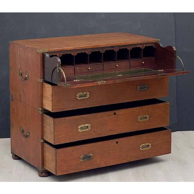 19th Century English Officer's Campaign Chest Secretaire of Teak and Brass For Sale - Image 5 of 13