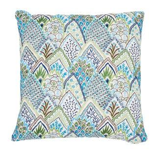 Contemporary Schumacher Albizia Embroidery Pillow in Blue & Green For Sale