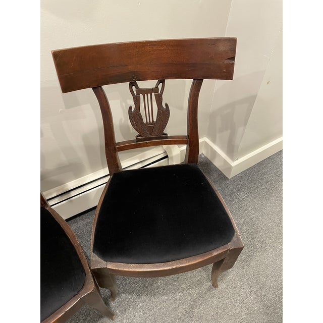 This is a pair of Walnut Chairs in the Director's Style with slip seat. The fabric is designer fabric in black velvet.