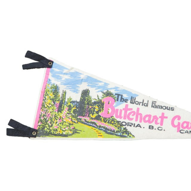Charming and rare felt flag banner pennant of World Famous Butchart Gardens Canada, circa 1960's. Featuring bright and fun...