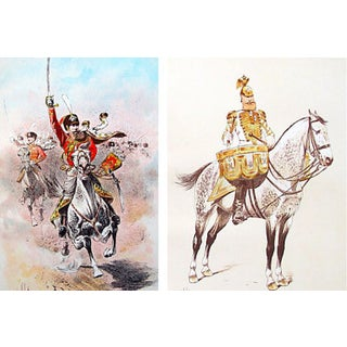Vintage French Lithograph of Cavalry - Pair For Sale
