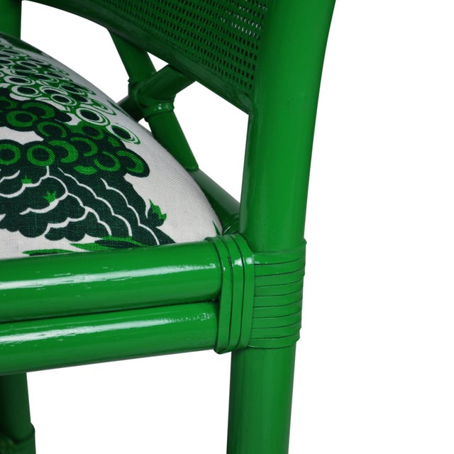 Ficks Reed Green Rattan Armchairs - Set of 4 For Sale - Image 5 of 5