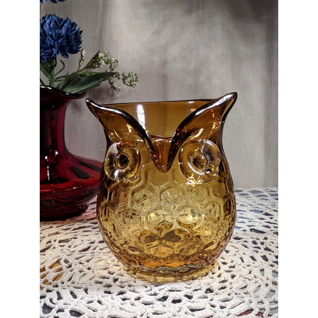 Blown Amber Glass Owl Shaped Candle Holder Vase For Sale - Image 13 of 13