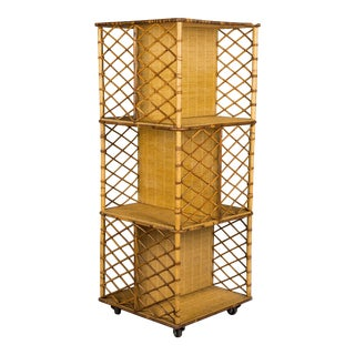 Mid-Century French Riviera Bamboo & Rattan Bookcase For Sale