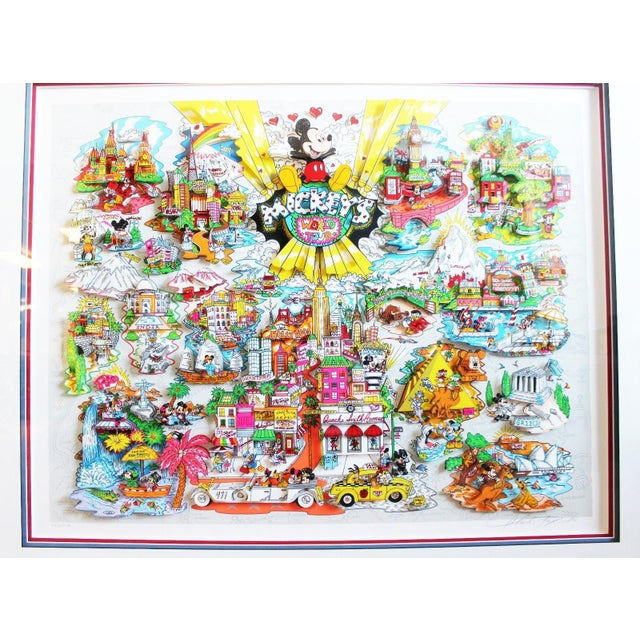 """For your consideration is a 3d collage, entitled """"Mickey's World Tour"""" by Charles Fazzino, signed. In excellent condition...."""