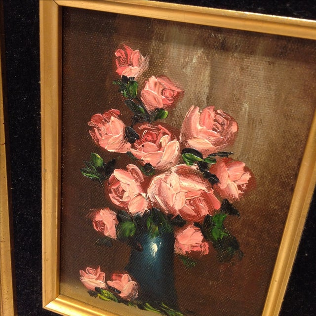 """""""Pink Roses"""" Vintage Still Life Oil Painting - Image 5 of 7"""