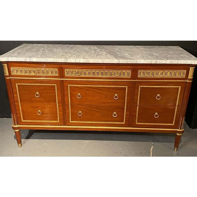Brown Pair of Monumental French Commodes in the Manner of Maison Jansen For Sale - Image 8 of 13