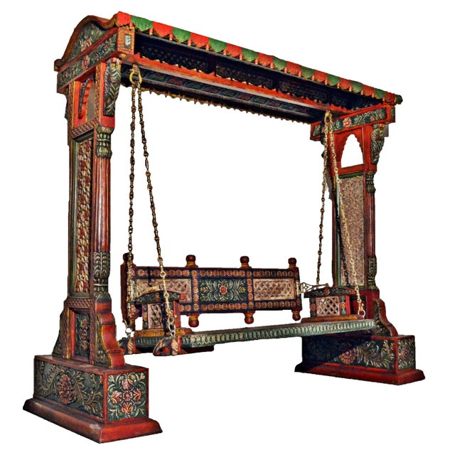 Jaisalmer Jharokha Carved Royal Swing Set For Sale