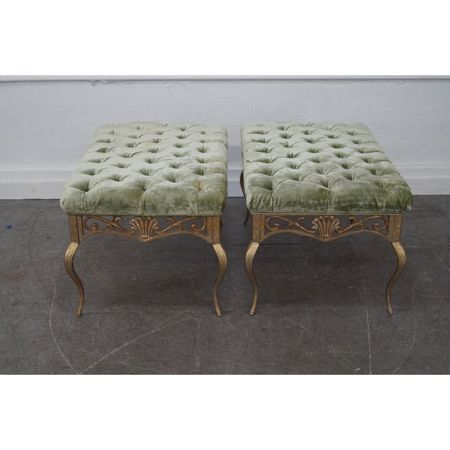 French Louis XV Gilt Metal Tufted Benches - Pair For Sale - Image 4 of 10