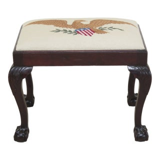 1900s Vintage Feldenkreis Ball & Claw Chippendale Mahogany Footstool Ottoman For Sale