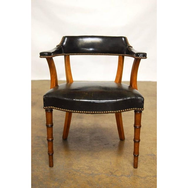 Barnard & Simonds Leather Library Chairs - Set of 4 - Image 8 of 10