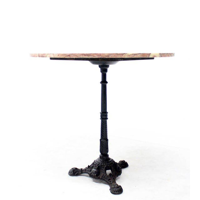 Cast Iron Base Pink Marble Top Pedestal Table For Sale - Image 4 of 5