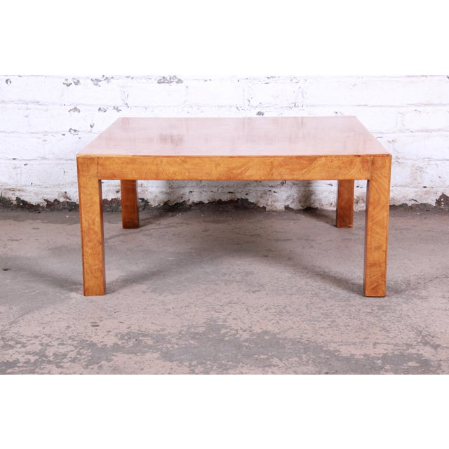Mid-Century Modern Mid-Century Burl Wood Parsons Coffee Table For Sale - Image 3 of 9