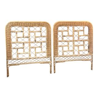 1970's Vintage Rattan Single Head Boards- A Pair For Sale