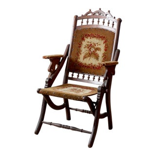 Victorian Tapestry Upholstered Folding Chair For Sale