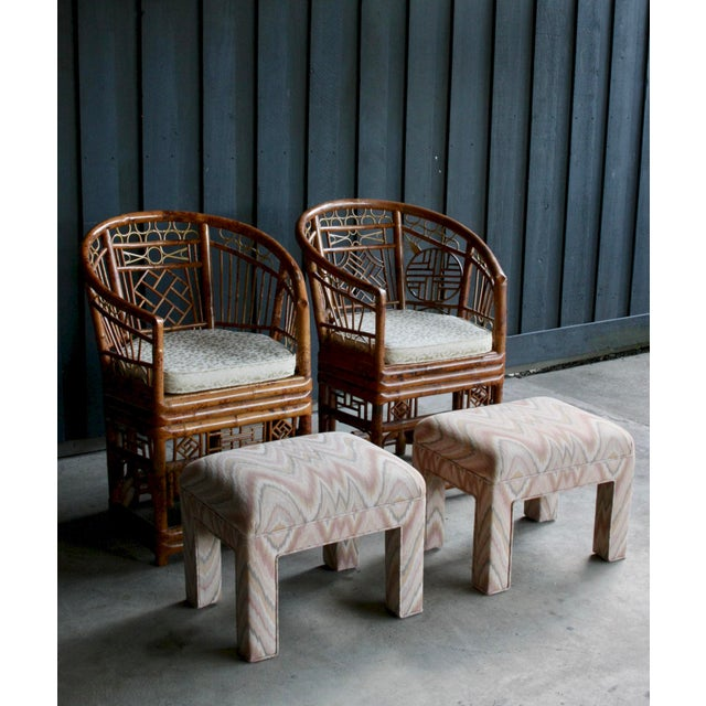 Fantastic pair of versatile vintage ottomans in trendy colorway. Original flame stitch upholstery in great condition....