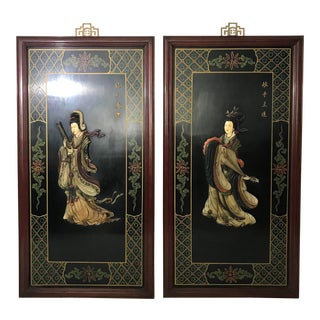Jade Chinese Musician Wall Panels/Hangings, a Pair