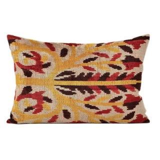 Flame Tree Ikat Silk Velvet Pillow