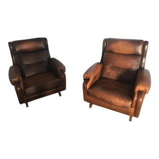 1940's Vintage French Club Chairs - A Pair