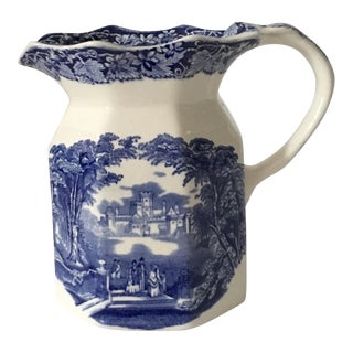 Antique Mason's Blue and White Ironstone Transferware Jug For Sale
