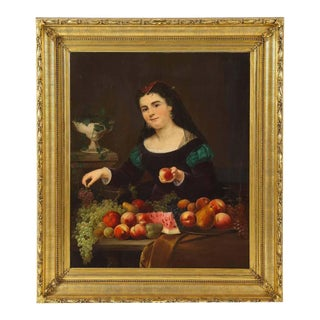 Unknown A Beautiful Oil on Canvas Portrait Painting of a Fruit Seller, 19th Century C. 1813 For Sale