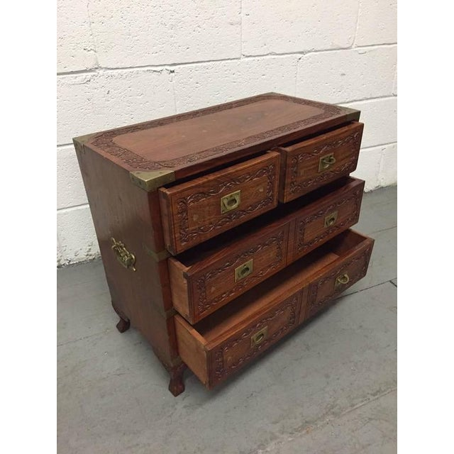 Pair of Vintage Mahogany and Brass Inlay Campaign Chests - Image 3 of 9
