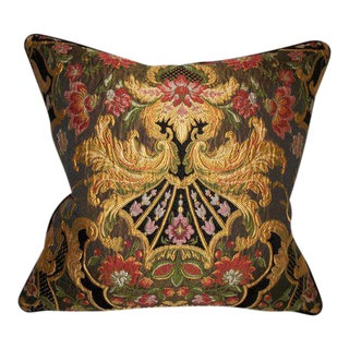 Embroidered Aubusson Chenille Tapestry Lampasso Accent Pillow ~ Down Feather Insert Included. For Sale