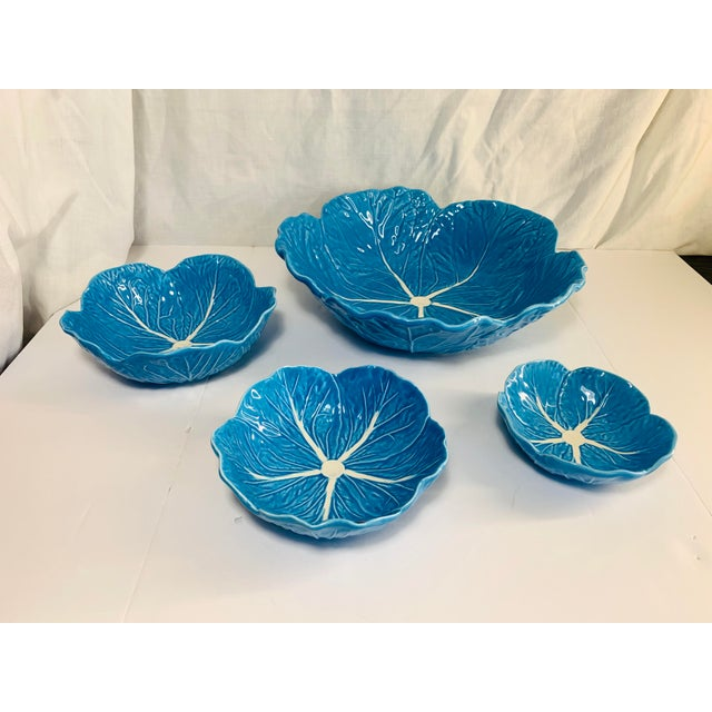 Bordallo Pinheiro Turquoise Blue Pottery Cabbage Nesting Bowls Handmade in Portugal - Set of 4 For Sale - Image 4 of 13