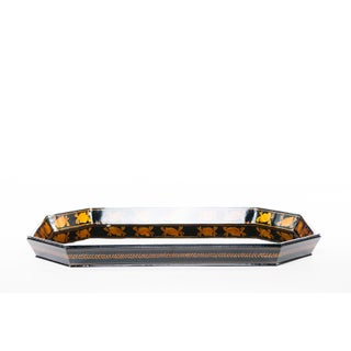 Lawrence & Scott Natural Tree Lacquer Hand Painted Serving Tray in Black With Seashells Preview