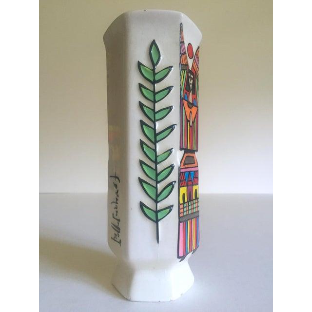 Vintage Mid Century Modern El Salavdor Rare Art Pottery Hand Painted Signed Angel Vase For Sale - Image 11 of 13
