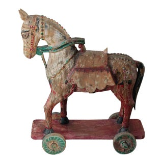 Wooden Oversized Temple Toy Horse from India For Sale