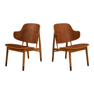 20th Century Danish Modern Ib Kofod-Larsen Teak Shell Chairs - a Pair For Sale