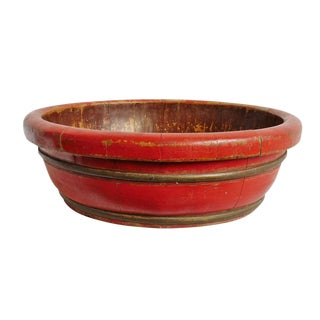 Chinese Red Wood Bowl For Sale