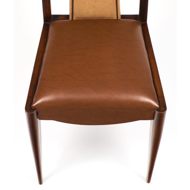 French Art Deco Solid Walnut Dining Chairs- Set of 6 - Image 10 of 11