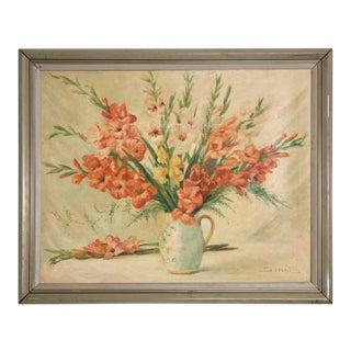 Vintage Still Life Painting of Gladioli For Sale
